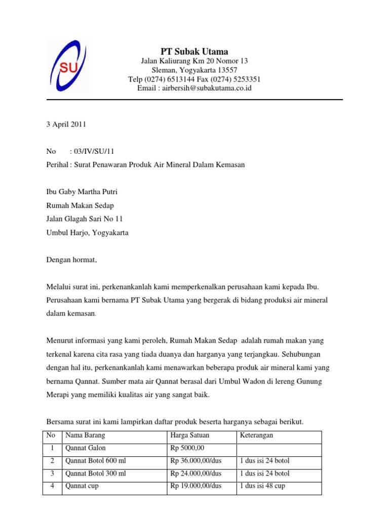 12 + Contoh Surat Penawaran Kerjasama   Barang   Jasa ...